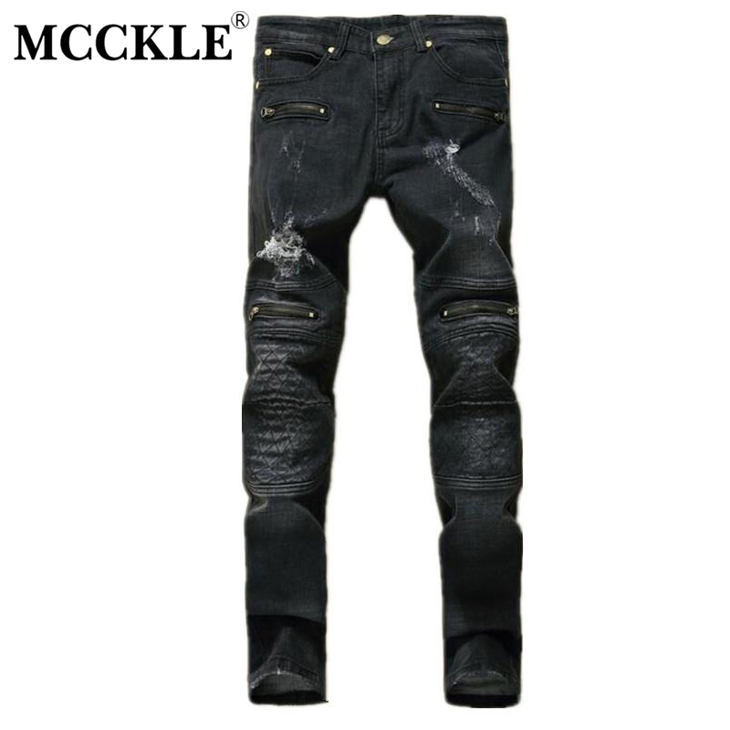 MCCKLE Designer Mens Black Ripped Jeans Pants Multi Zipper Distressed Denim Joggers Male Slim Fit Straight Old Jean Trousers mens casual elastic ripped drape denim hip hop slim fit distressed biker jeans pants black straight pencil trousers multi zipper