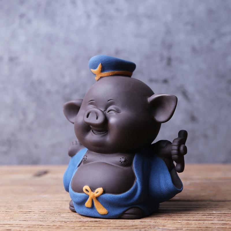 Creative Tea Pet Marshal Tianpeng Pig Boutique Purple Clay Pig Lucky Tea Pet Ornaments Can Raise Tea Tea Set Accessories