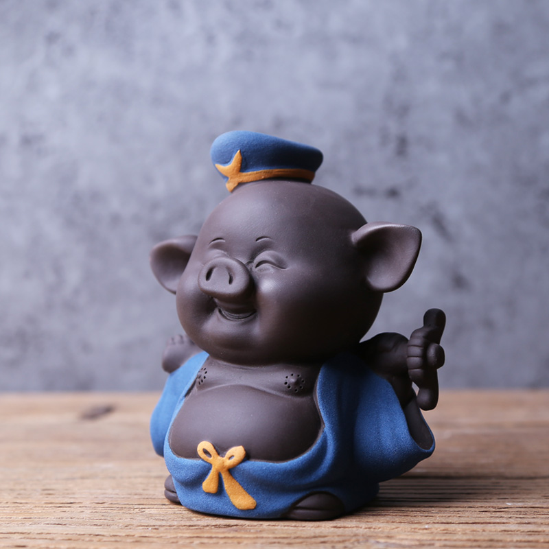 Thé créatif pour animaux de compagnie maréchal Tianpeng cochon Boutique violet argile cochon chanceux thé Pet ornements peuvent soulever thé Set accessoires
