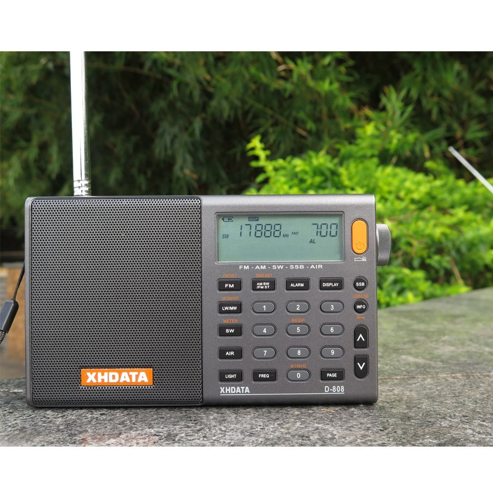 XHDATA D 808 Portable Digital Radio FM stereo SW MW LW SSB AIR RDS Multi Band Radio Speaker with LCD Display Alarm Clock in Radio from Consumer Electronics