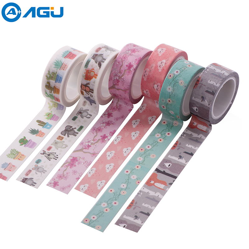 AAGU 1PC 15mm*5m Various Designs Cute Floral Washi Tape High Sticky Adhesive Masking Tape Planner Decorative Paper Tape For DIY aagu 1pc 8mm 7m label stationery red black dot stripe washi tape decorative masking tape lovely high viscosity paper sticker