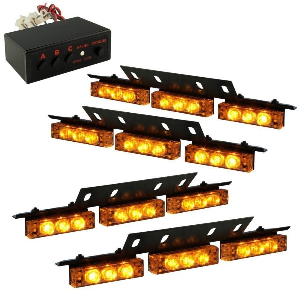 Super Bright 12V 36 LED Car Warning Emergency Strobe LED Lights Bar Amber Flash Dash Deck Grill Daytime Running Flashing Lamp 54 led emergency vehicle strobe lights bars warning deck dash grille amber white