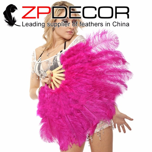 Zpdecor caliente Rosa marabú y plumas de avestruz ventilador 5 ...