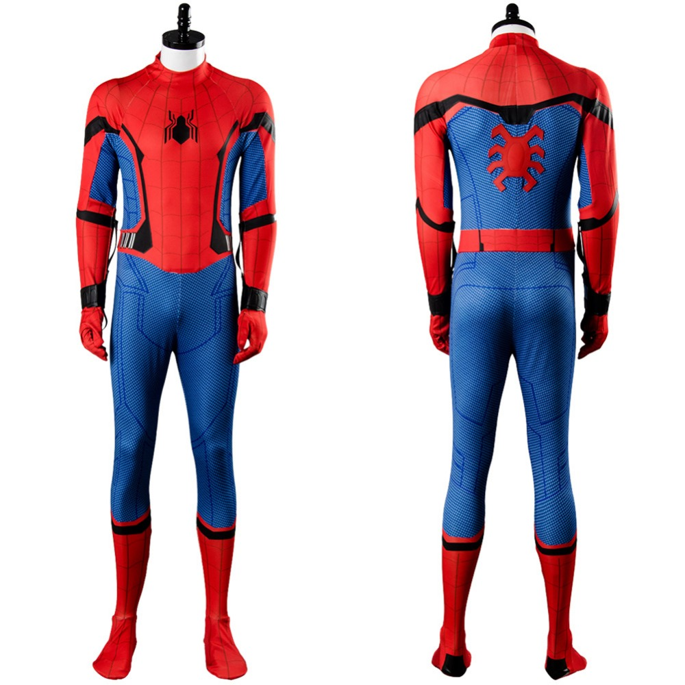 2017 Movie Spiderman Homecoming Costume Spiderman Civil War Jumpsuit Cosplay Costume Halloween Carnival Adult Men