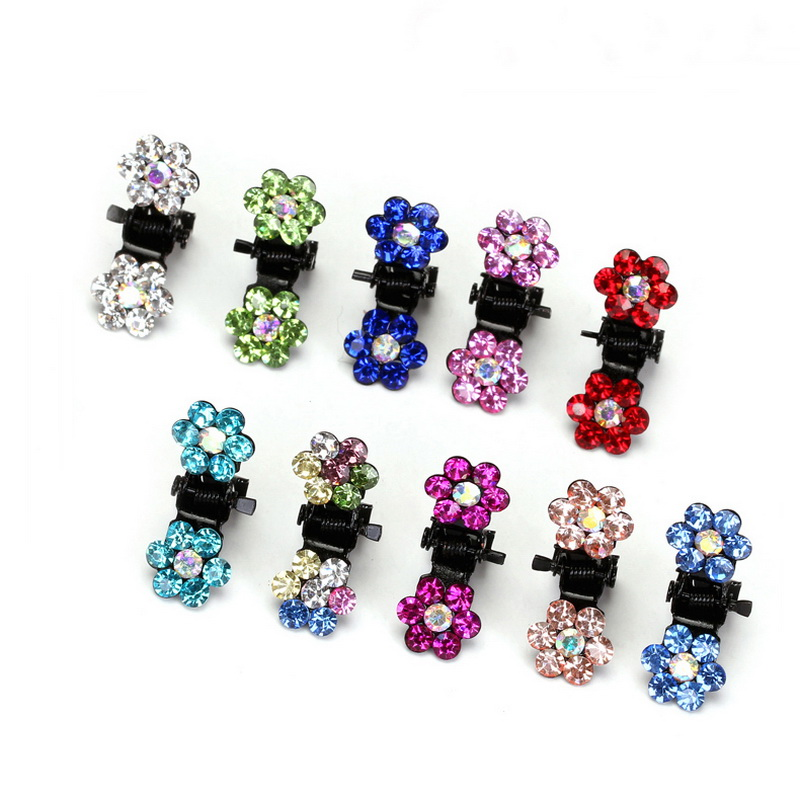 12 Pcs/Set Fashion Women Hairpins Crystal Flower Mini Barrettes Hair Claw Clamp Hair Clip Girls wedding hair accessories 2017 new hair claw for women girl elegant high quality hair clip party decorations holiday gift accessories