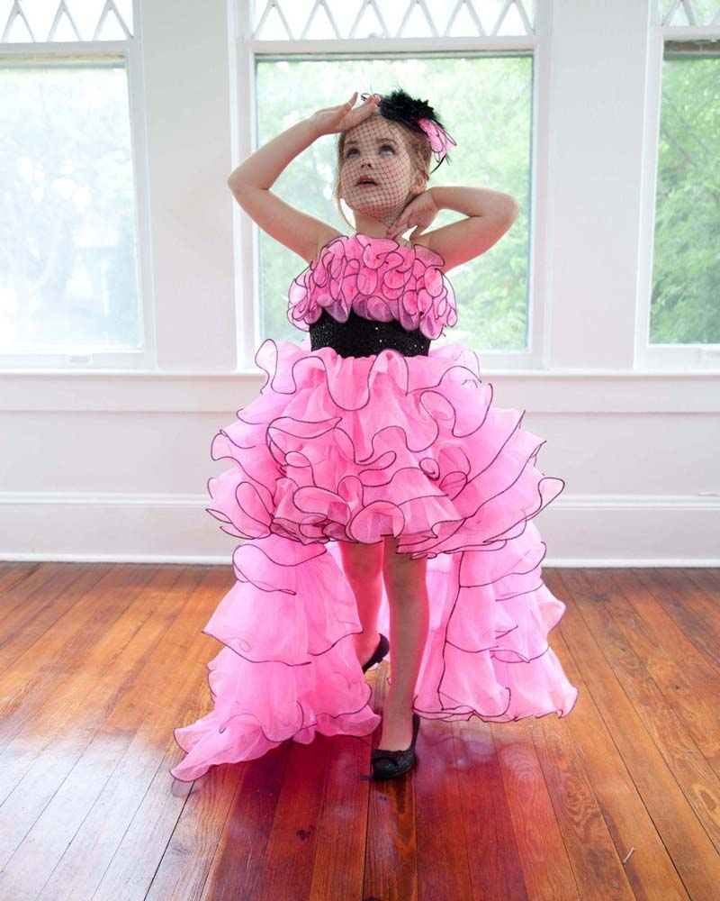 Cute Little   Girl   Formal Pageant Gown Appliques Ruffles Sweep Train Organza   Flower     Girl     Dresses   for Wedding Party Custom Made