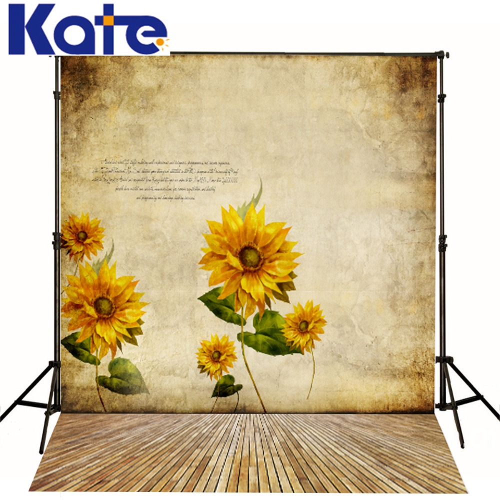 Kate Photography Backdrops Photo Background Sunflower Wood Floor Brick Wall Backgrounds Photography Studio Backdrop F262