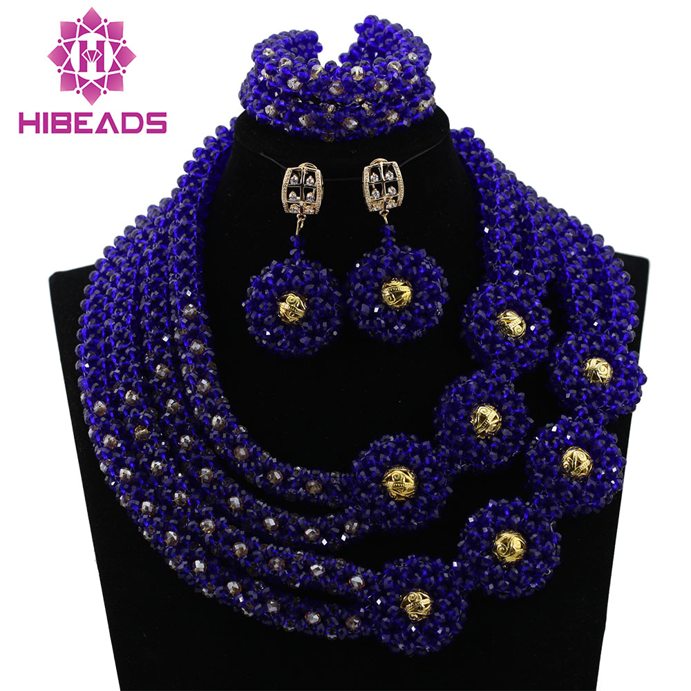 2017 Pretty African Jewelry Set Blue Mix Gold Nigerian Wedding African Crystal Beads Necklaces Jewelry Sets Free Shipping HX5952017 Pretty African Jewelry Set Blue Mix Gold Nigerian Wedding African Crystal Beads Necklaces Jewelry Sets Free Shipping HX595