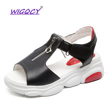 2019summer women sandals Platform wedges Peep Toe Hook loop flat Zipper summer shoes Open toe Mixed Colors