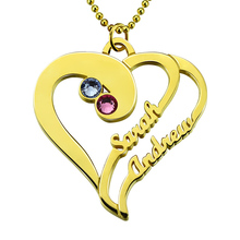 Wholesale Gold Heart Necklace With Birthstones Personalized Heart Name Necklace Couples Heart Pendant Gift for Lover