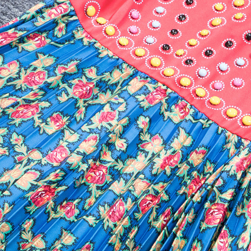 Elegante As Patchwork Vestido Vintage Cuello Vestidos Plisado De Las H6311 La Mujeres Primavera Manga 2019 Show Larga Moda Botones Pista 45USnwq7xv