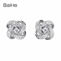 BAIHE Solid 14K White Gold About 0.20ct Genuine Natural Diamonds Engagement Trendy Fine Jewelry Elegant Unique Stud Earrings