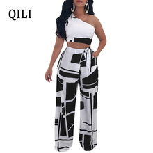 QILI Women Wide Leg Jumpsuit Romper One Shoulder Sleeveless Two Piece Set Bow Print Jumpsuits Ladies Sexy Casual Overalls 2XL