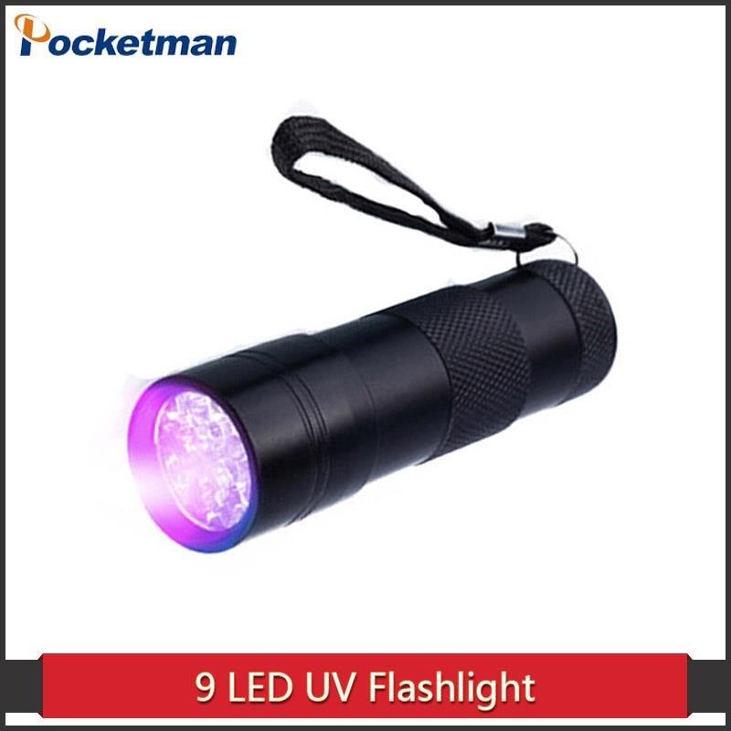 Mini Aluminum Portable UV Flashlight Violet Light 9 LED UV Torch Light Lamp Flashlight Zk50
