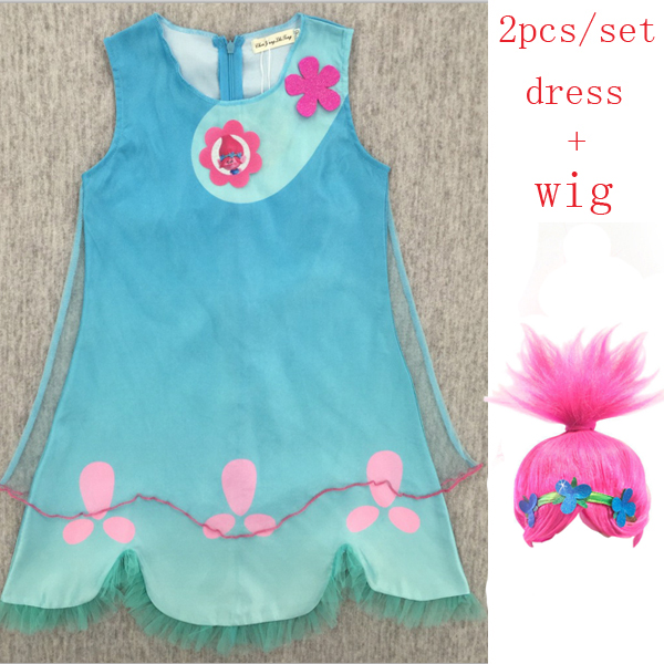 a2c48311124 Detail Feedback Questions about Children trolls Dress toy Costumes Girls  Summer dress For Party Kids poppy lace Dresses Princess Dress Vaiana Party  Vestido ...