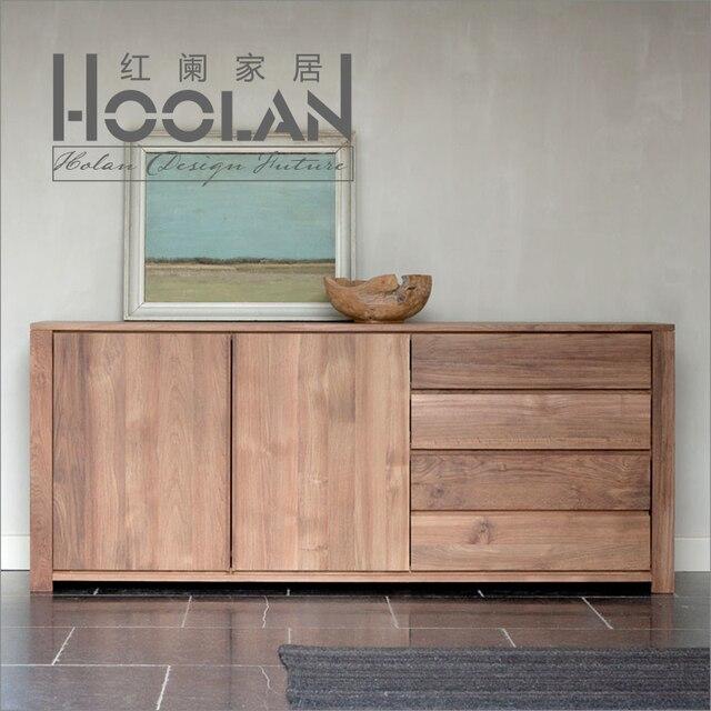Nordic Ikea Minimalist Modern Oak Ash Wood Sideboard Lockers Cabinet