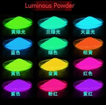 Vereinigt 500 Gr/beutel Mixed 10 Leuchtenden Pulver Glühen Im Dunklen Pulver Farbe Super Helle Leuchtstoffpulver Dekorationsmaterial