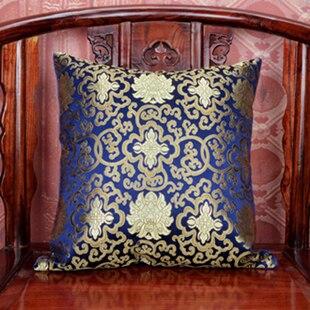 Ручной работы с цветочным принтом китайский стул подушка для дивана в этническом стиле Подушка под поясницу декоративные наволочки шелк атласная наволочка 45x45 см - Цвет: Темно-синий