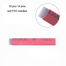 10PCS/Lot PCD Red 14 Pins Microblading Needles Permanent Makeup Eyebrow Tatoo Blade For Manual Eyebrow Tattoo Machine Pen