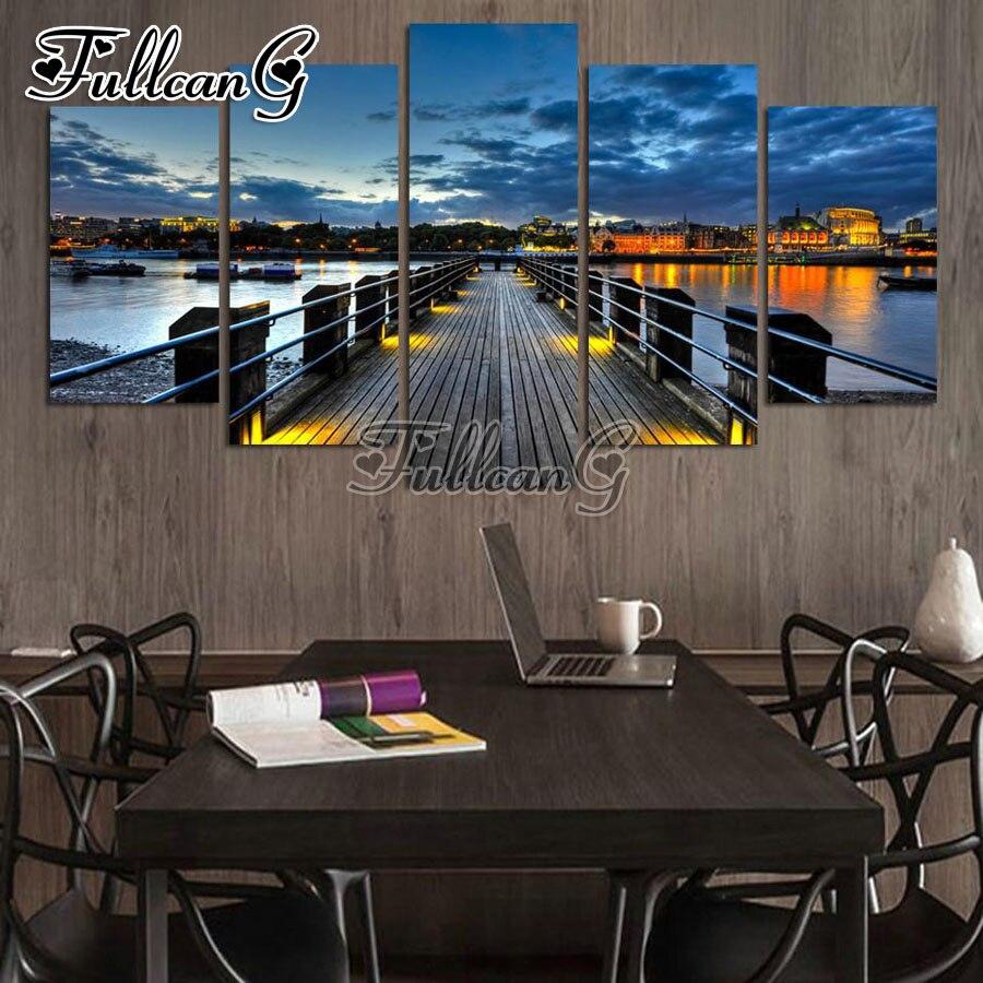 FULLCANG 5 pièces bricolage diamant peinture port jetée nuit paysage plein carré/rond perceuse 5d broderie multi-image art FC663