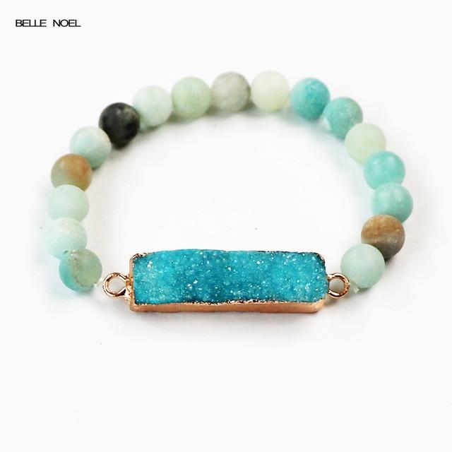 Nature Matte Ite With Unique Rectangle Lake Blue Raw Mineral Crystal Quartz Druzy Charm Boho
