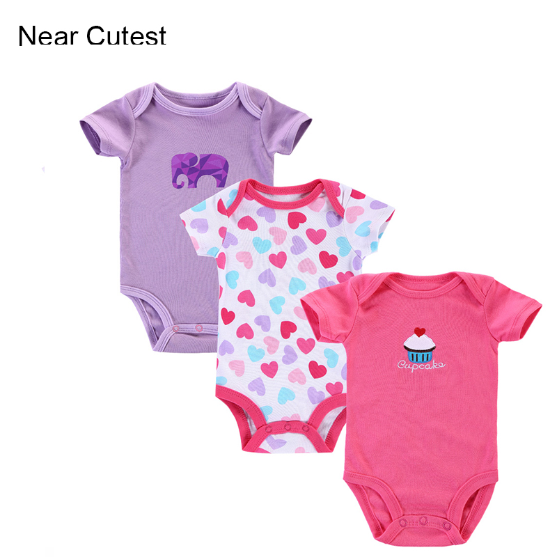 3pcs/lot 100% Cotton Baby Rompers Toddler Jumpsuit Baby Girl Boy Clothes Newborn Bebe Overall Clothing