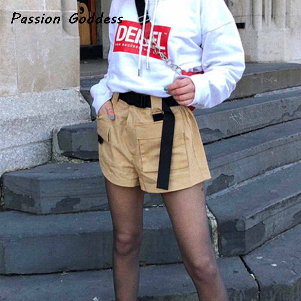 New Casual Women Summer Loose Cargo Shorts with Belt Sashes Gift Punk Wide Leg Shorts Collect Waist Femme Cool Baggy Cargo Short ...