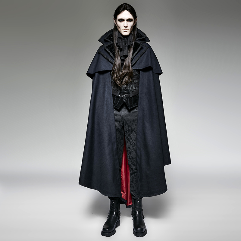 Punk gothique Halloween sombre Vampire comte chauve-souris Cape lâche sans manches pardessus Steampunk bleu hommes capuche Cape longue manteau manteaux
