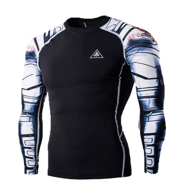 Hombres Tops Camisas de Compresión Capa Base Gimnasio levantamiento de pesas Culturismo Apretado MMA Crossfit Tops Para Hombre Flaco Camiseta 22