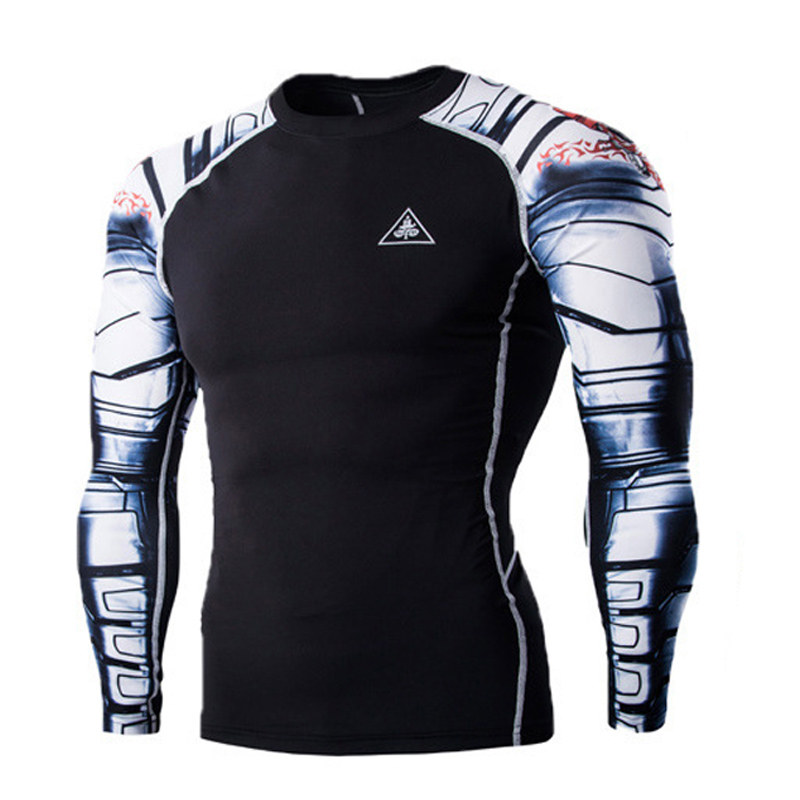Mens Fitness 3D Prints Long Sleeves T Shirt Men Bodybuilding Skin Tight Thermal Compression Shirts MMA