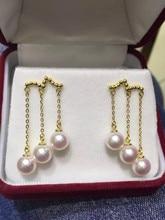 Eternal wedding Women Gift word 925 Sterling silver real Exclusive design    tassel natural freshwater pearl earrings earring
