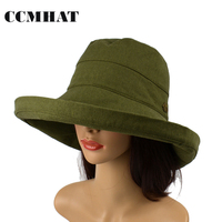 CCMHAT דלי כובעי נשים 2017 אופנה סגנון כותנה קיץ ראש מתכוונן כובע מגבעת כובעי דלי Boonie Hat Accessorie
