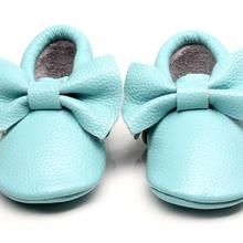 Fashion cute bow genuine leather baby moccasins toddler Baby