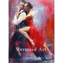 pintura lienzo Tango mano