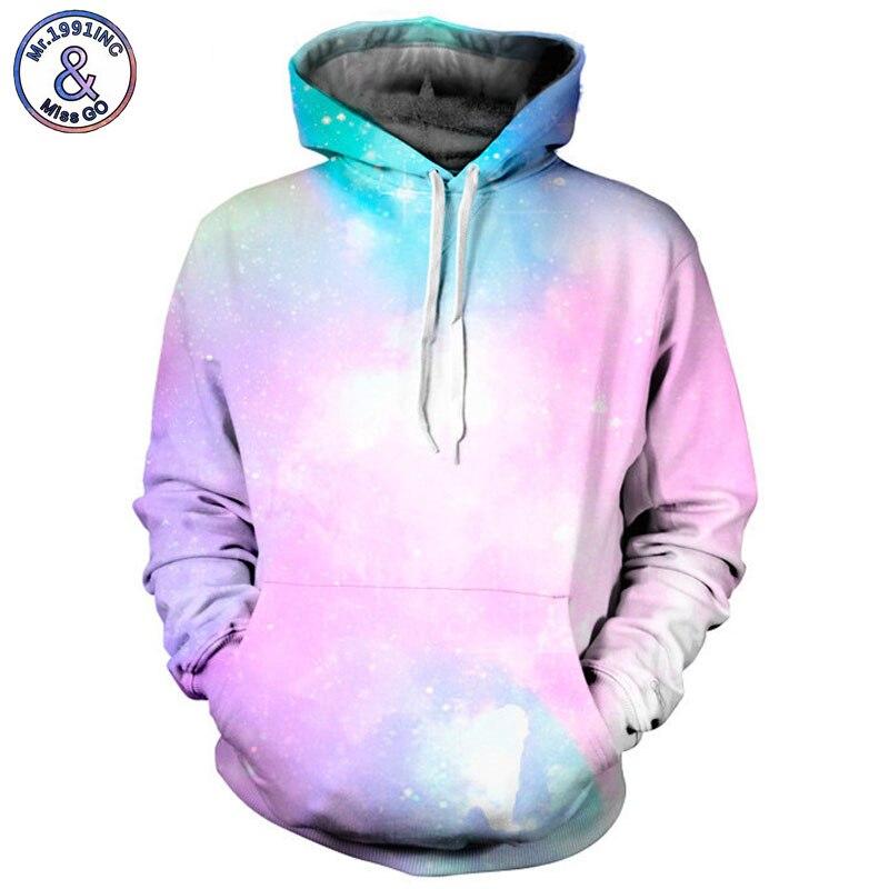 Mr.1991INC 2018 new pink Space Galaxy 3d Sweatshirts Men/women hoodie sweatshirt Casual Hooded Pullovers Men Hoodies S-3XL M017
