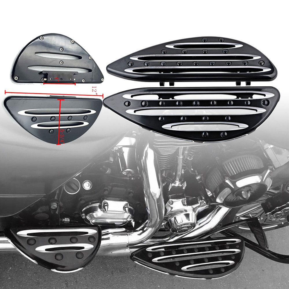 F&R CNC Deep Cut Driver Passenger Stretched Floorboards For Harley Davidson Touring Road Glide Custom Road King Classic CVO