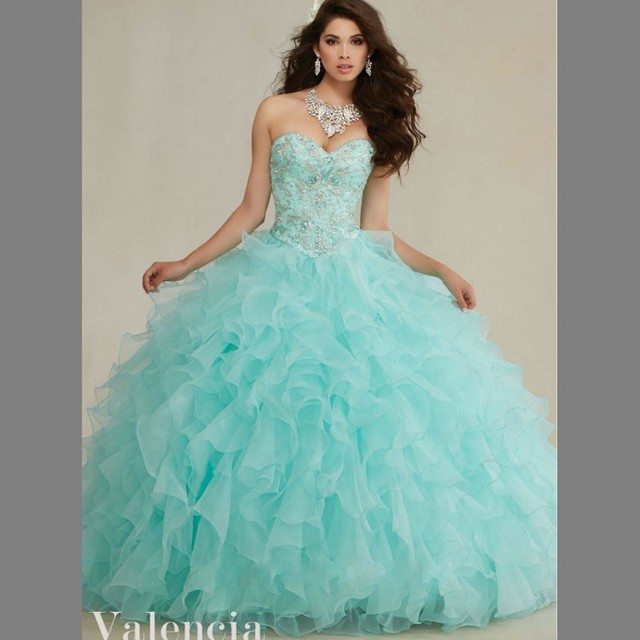 57bb92fc235 Delicate Embroidery Sweetheart Aqua Quinceanera Dresses 2016 Ruffles  Organza Beading Birth Ball Gown Sweet 16 Dress Debutante