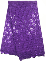 Top Sale organza voile lace in purple Swiss African lace fabric with beautiful sequins for party dress