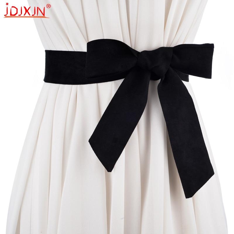 2018 Fashion   Belts   Female wide   belt   for women Grow a knot Ladies On dresses ceinture femme High quality suede   belt   women NJ063