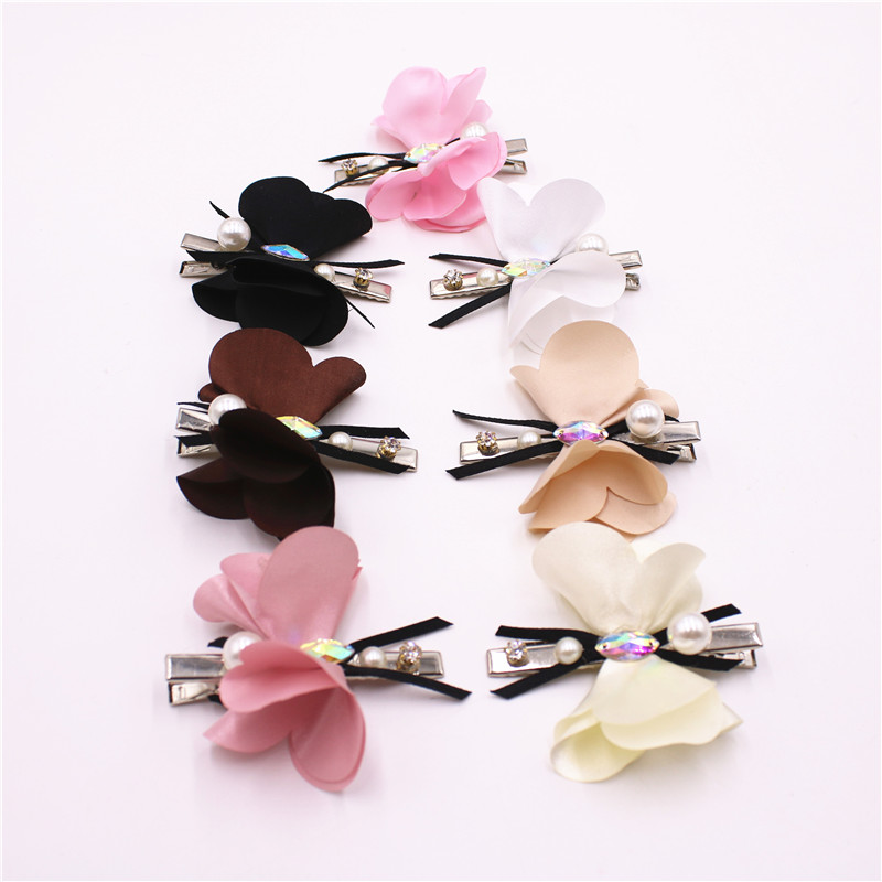 7 pcs/set 2017 Fashion Girls Hair Clips Solid Color Butterfly Barrette 7cm Hairpins Children Hair Accessories For Women fake rose flowers