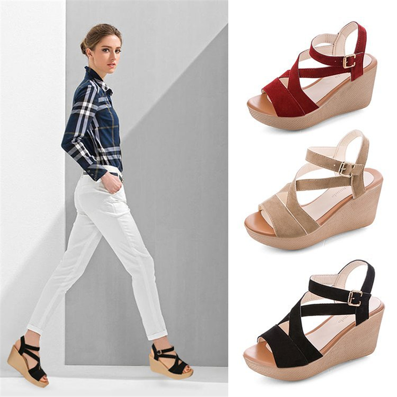 Women's Sandals Wedges Comfortable High-Heel Thick-Bottom Slippers237 Flat Summer Fashion