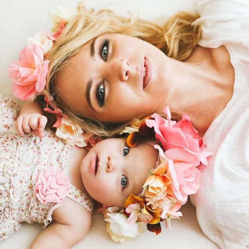 2018 New Mom and Kids Flower Headband Handmade Flower Crown Mother Children Girl Matching   Headwear   Garland Hair Band Accessories