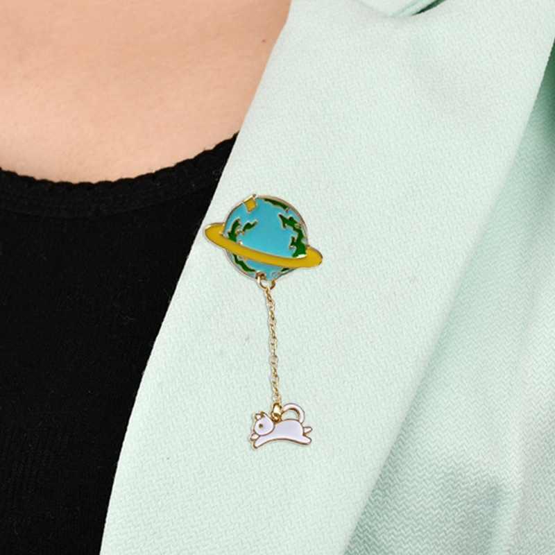 Мультяшная Милая эмалированная брошь из сплава земли, планеты космонавта, для женщин, кроличий Кот, единорог, медведь, броши, ювелирные изделия