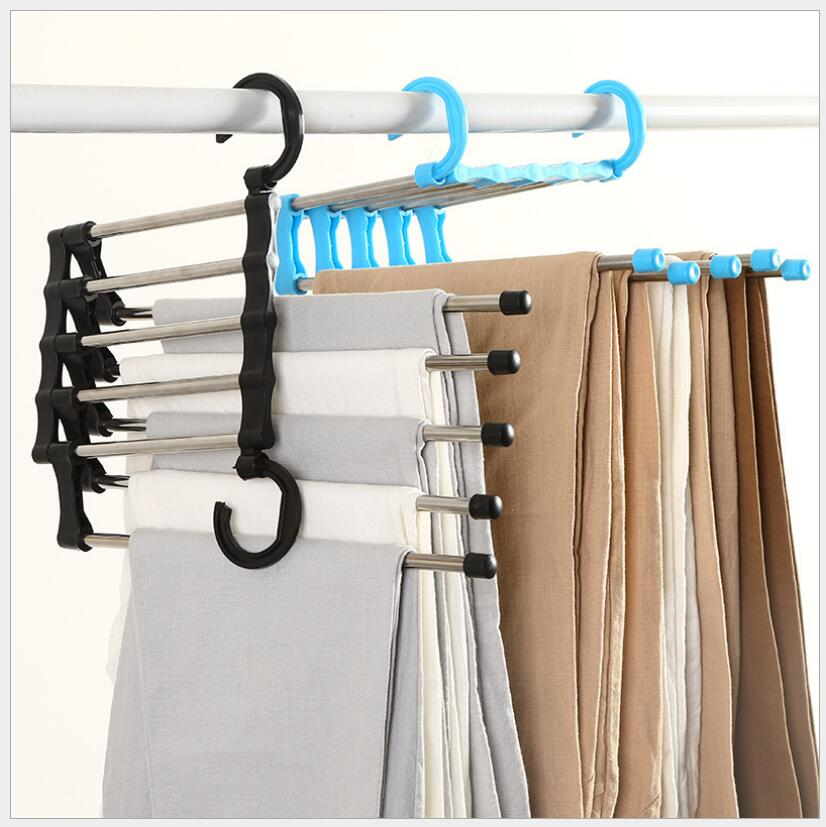 New 5 in 1 folding multifunctional multi-layer stainless steel pants rack home hanger pants clothes storage rack