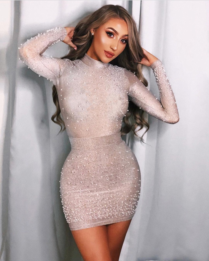 Conception 1 2018 Perle Q Robe Manches Celebrity Longues Wear Gros Party Femmes En Chic Top Nouveau Mini Luxe Sexy Embelli qIwrIHf
