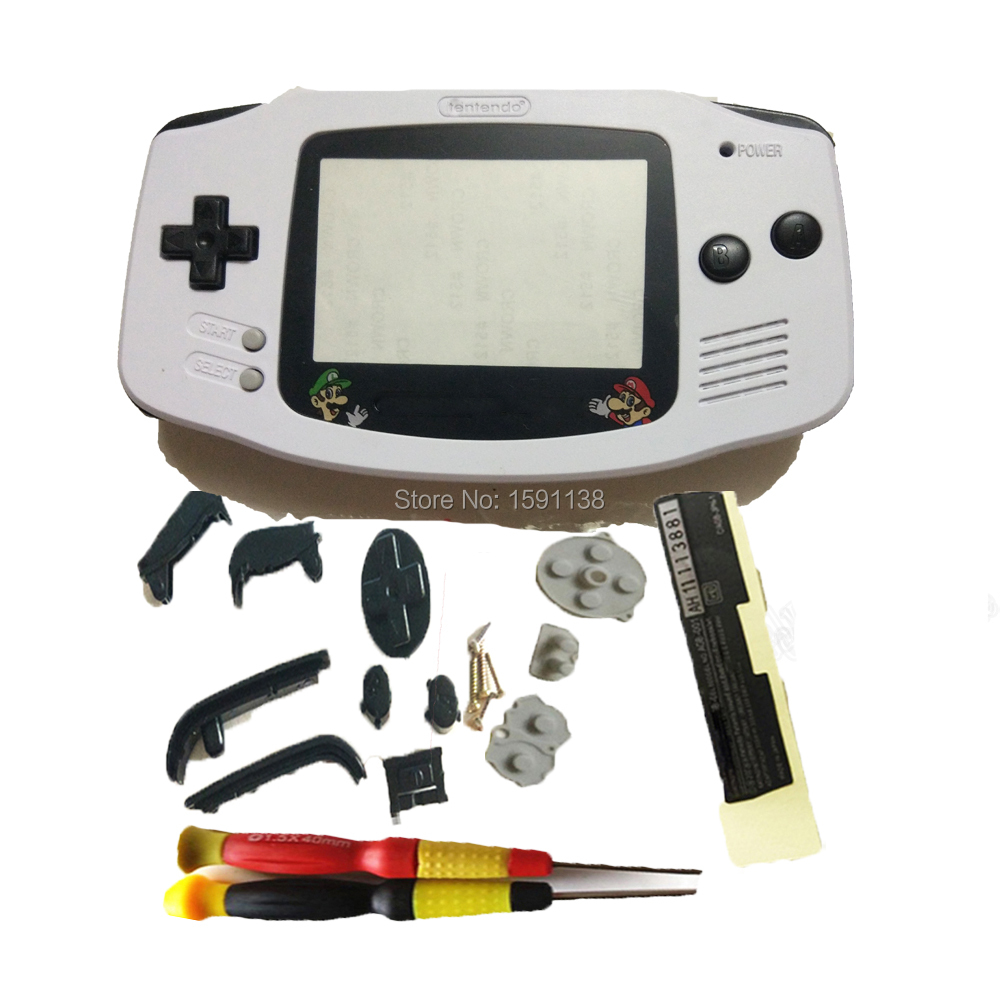 New White Color Shell Repair Boy Housing Case Boy Game Console Fit GameboyAdvance GBO DMG Black Buttons Mar Bros Screen Lens