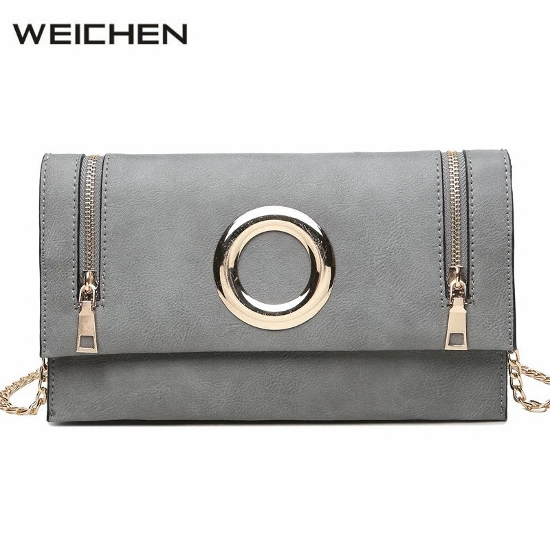 Metal Ring Female Clutch Bags Zipper Gray PU Leather Casual Women Shoulder Crossbody Bag Soft Handbags Ladies Party Cluches Bag pu leather stitching metal ring crossbody bag