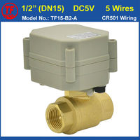 DC5V NPT BSP1 2 Electric Shut Off Valve For Flow Control 5 Wires With Signal Feedback