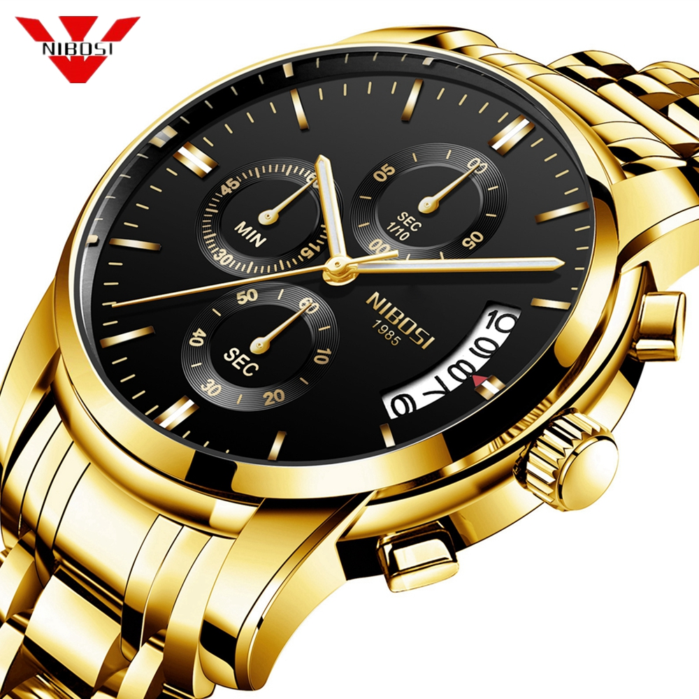 NIBOSI Men Watch Quartz Mens Watches Top Brand Luxury Business Chronograph Sport Watch Men Military Clock Saat Relogio Masculino