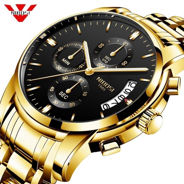 2a97cdb22eab NIBOSI reloj hombre 2018 hombres reloj de cuarzo relojes deportivos  calendario Top marca de lujo hombre reloj de negocios reloj militar relojes  para hombre